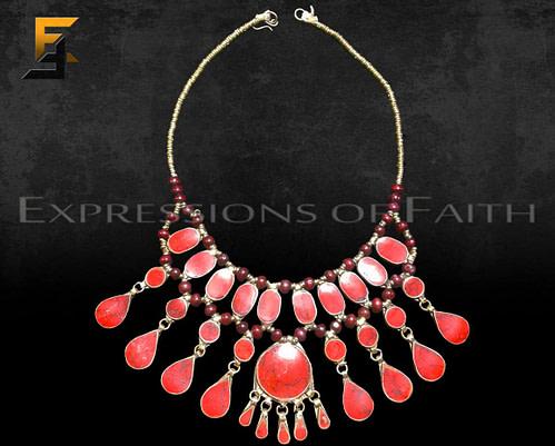 Afghan Red Jasper Necklace