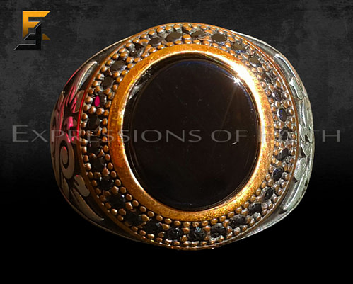 Silver and Bronze Onyx Ring