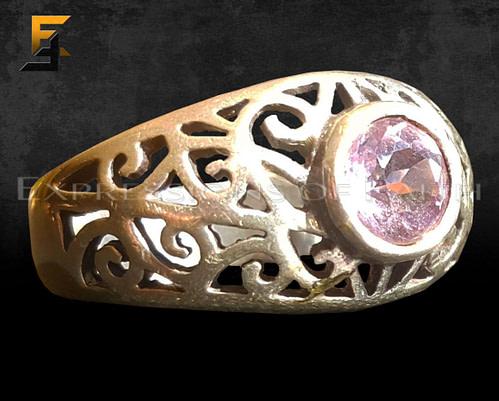 Scroll filigree Amathyst Ring