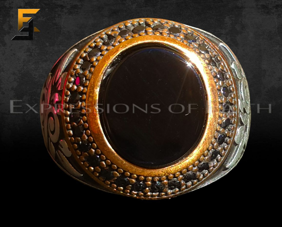 JS006 Black Onyx Ring Floral Detail 002 - Jewellery Shop