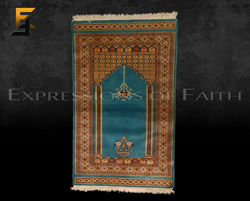 Pakistani Blue Prayer Rug