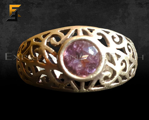 Scroll filigree Amathyst Ring
